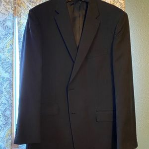 Three piece Men's blue pink stripe suit